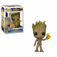 Avengers Infinity War POP! Movies Vinyl Figur Groot with Stormbreaker 9 cm
