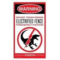 Jurassic World Raptor Fence Medium Metal Sign