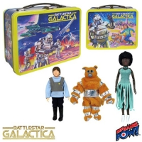 Battlestar Galactica 35th Ann. Retro Tin Tote w/Boxey, Muffit & Tucana Singer 8-Inch Figures - Convention Exclusive